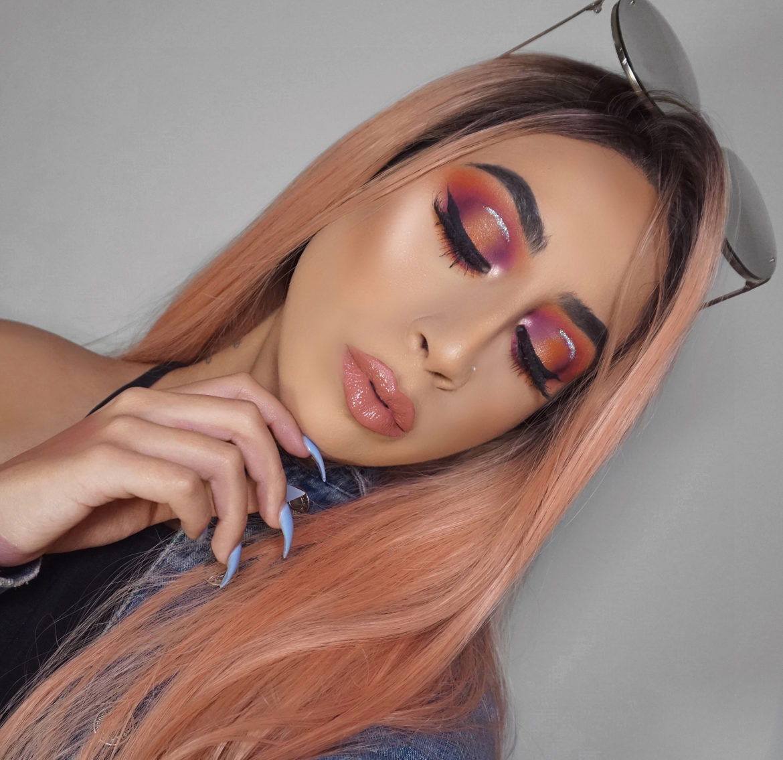 Beautiful Orange Purple Eyeshadow Makeup